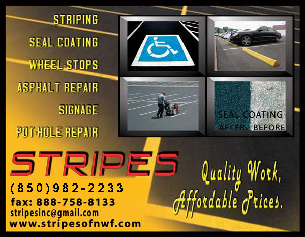 "Stripes of Pensacola, Florida offers parking lot maintenance, striping, wheel stops, pot-hole repair, seal coating, ADA compliance, speed bumps, thermo plastic, stop bar, lane divider, pavement marking, handicap signs, ""no-parking"" signs, fire lanes, and truncated dome warning mats"